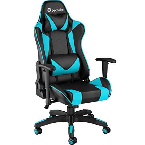 TecTake 800728 Poltrona da Ufficio Sedia da Gaming Direzionale Girevole per Casa Studio Sportiva Racing - Disponibile in Diversi Colori – (Nero-Azzurro   No. 403206)