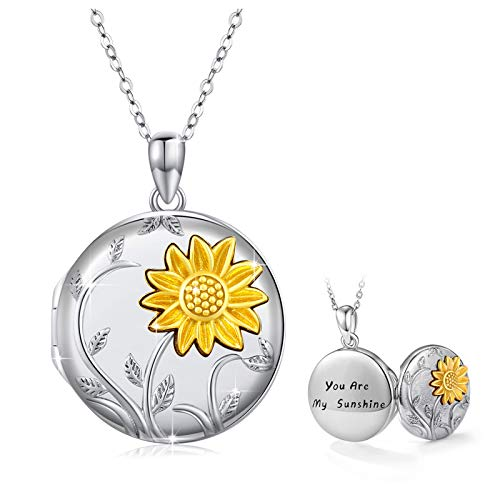 PRAYMOS 925 Sterling Silver Locket Necklace That Holds Pictures Sunflower Pendant You are My Sunshine Engraved for Women