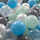 KiddyMoon 100 ∅ 7Cm/2.75In Soft Plastic Play Balls For Children Colourful Certified Made In EU, Pearl/Grey/Transparent/Baby Blue/Mint