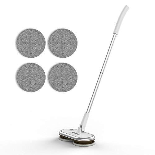 GOBOT コードレス電動モップクリーナー 回転モップ 床掃除クリーナー フロアワイパー くるくるツインモップ 回転式 掃除用品 無線操作 軽量 充電式バッテリー 多角度転換 自立式 操作簡単 天井掃除ワイパー 畳掃除モップ 替えモップパッド4枚入り