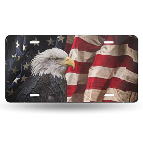 COWDIY Metal License Plate, American Flag Novelty Aluminum Front Car Plate...