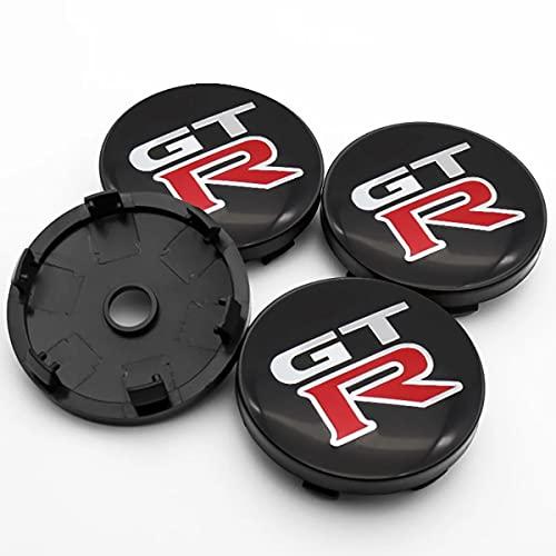 JJZRB 4Pcs Coche Tapas Centrales Llantas Hub Centre Caps, para Nissan Dayz 370Z GT-R 60mm Wheel Rim Impermeables Prueba Polvo Pegatinas, Car Decoración Styling Accessories