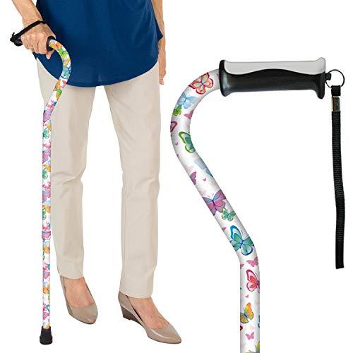 Vive Walking Cane  for Men amp Women  Portable Adjustable Offset Balance Stick  Lightweight amp Sturdy Mobility Walker Aid for Arthritis Elderly Seniors amp Handicap White Butterfly