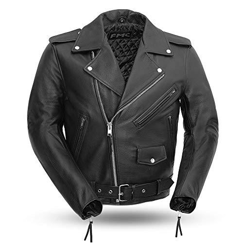 First Mfg Co Superstar - Men's Leather Motorcycle Jacket (Black, Medium)