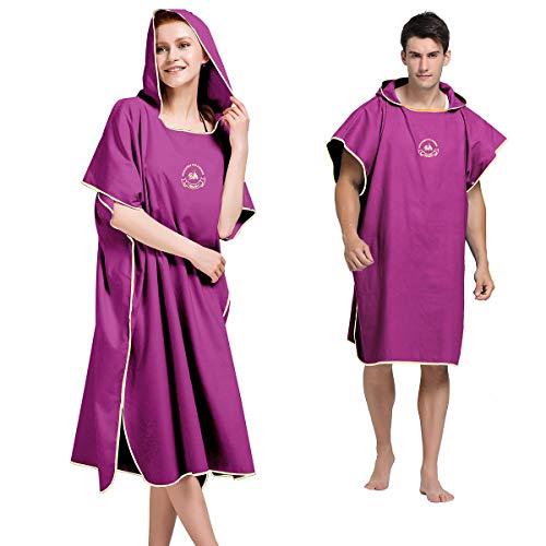 Powcan Handtuch Poncho Mikrofaser Andern Sie Robe,Surfen Wechseln Handtuch Robe Mit Kapuze,Schwimmen Schnorchel Strand Poncho (rot)