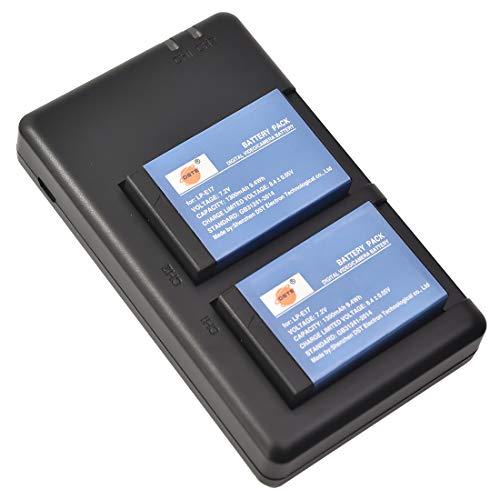 DSTE LP-E17 Batteria di ricambio (2 pacchetti) e caricatore rapido doppio compatibile per Canon EOS M3 200D 250D 750D 760D 8000D Kiss X8i X10 Rebel T6i Rebel T6s SL3