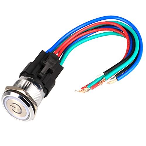 GUUZI 12V-24V / 15A Interruptor de Botón de Enclavamiento NO/NC Impermeable Luz LED Verde/Roja Iluminada 22 mm Botón de Encendido de Metal con Cable de Enchufe