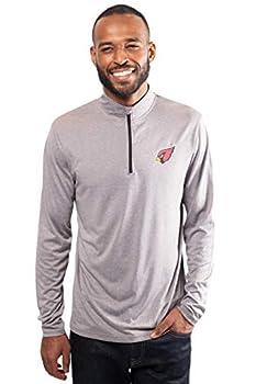 Ultra Game Mens NFL Moisture Wicking Soft Quarter Zip Long Sleeve Tee Shirt Arizona Cardinals Charcoal Heather Large