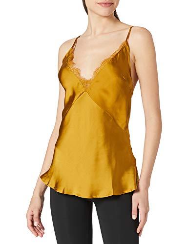 Women' Secret Camiseta de satén y Encaje Camisa de Noche, Dorado, L para Mujer