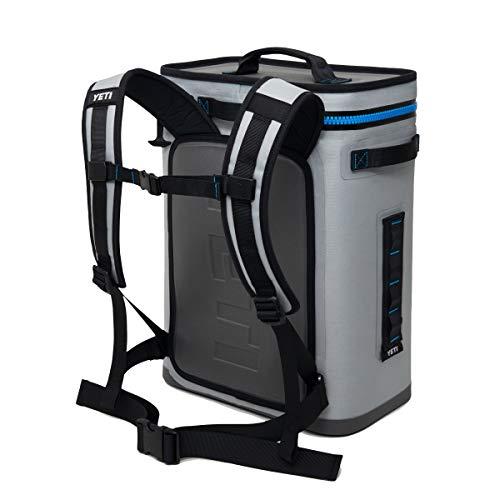YETI Hopper Backflip 24 Soft Sided Cooler/Backpack, Fog Gray/Tahoe Blue (Renewed)