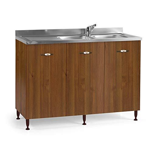 we point Mobile Sottolavello da Cucina vasche Reversibile Tre Ante Noce Antico Cm 120x50xH 85