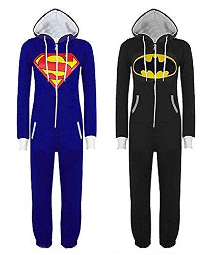 Damen Herren Overall Jumpsuit Sleepsuit Superman & Batman mit Kapuze Pyjamas Kostüm - 3