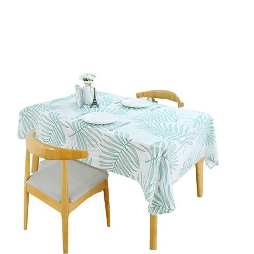 Material De Poliéster Mantel Rectangular Impermeable Mantel Cuadrado Mantel De Mesa De Café Patrón De Hoja Verde Adecuado para La Decoración De La Sala De Estar Cocina Hotel 140x200cm