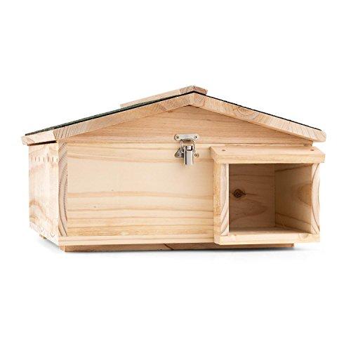 OneConcept Stachelburg - Igelhaus, Futterhaus, Igelhütte, Igelhotel, großer Labyrintheingang, Massivholz, fertig montiert, aufklappbares Dach, sauber geschliffen und verschraubt, Hellbraun