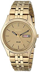 Seiko Men's Solar Watch With Champagne Dial