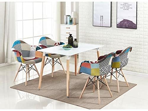 Life Interiors: Juego de 4 sillas de baño y mesa de comedor de patchwork   Mesa moderna   Silla multicolor   Muebles modernos   Color de la mesa: (blanco)