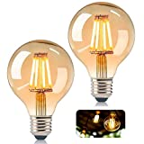KIPIDA Bombilla vintage Edison G80 Edison LED, bombilla antigua, bombilla globo E27, 4 W, luz blanca cálida, decorativa, ideal para nostalgia y iluminación retro, 2 unidades
