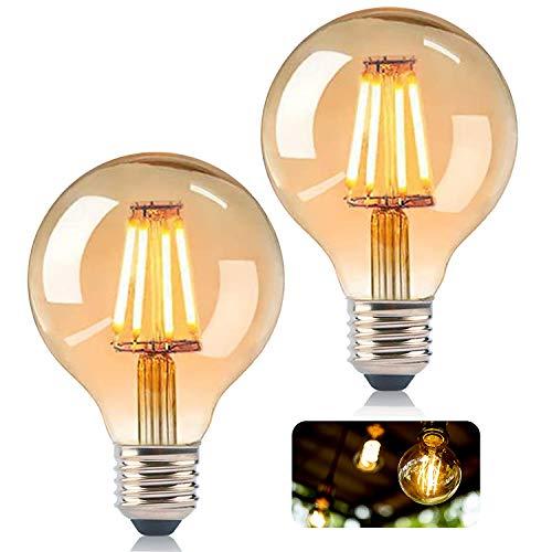 KIPIDA Edison Vintage Glühbirne, G80 Edison LED Lampe Antike Leuchtmittel Globe Birne E27 4W Warmweiss Dekorative Antike LED Glühlampe Ideal für Nostalgie und Retro Beleuchtung Dekoration-2 Pack
