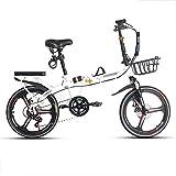 JHNEA 20 Pulgadas Plegable Bicicleta, 7 velocidades Marco de Acero al Carbono Bicicleta Plegable Street con Estante Sillin Confort y Defensa Bicicleta Plegable Urbana,White-B