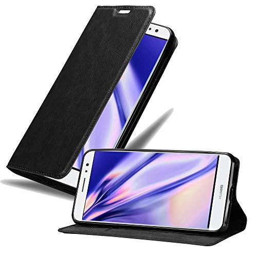Cadorabo Hülle für Huawei NOVA Plus in Nacht SCHWARZ - Handyhülle mit Magnetverschluss, Standfunktion & Kartenfach - Hülle Cover Schutzhülle Etui Tasche Book Klapp Style