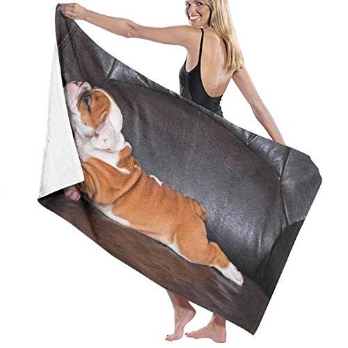 Groß Sanft Leicht Mikrofaser Badetuch Decke,Welpe, der auf einem Sofa ruht Lustige Tierfotografie Netter Hund,Duschblatt für Familie Hotel Reise Schwimmen Sport Wohnkultur,52' x 32'