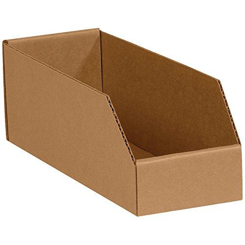 Aviditi Corrugated Cardboard Storage Bins, 4x 12x 4 1/2, Kraft, Pack of 50, for Warehouse, Garage and Home Organization