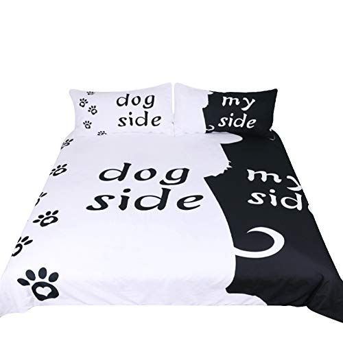 Terygoid Collection Quilt Bettwäsche-Sets umfassen Bettbezug-Kissen, Dog Side My Side, Einzelbett (135x200 cm). Passend für 90 cm Bett