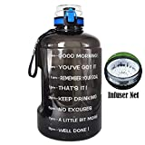 5. BuildLife Gallon Motivational Water Bottle Wide Mouth with Time Marker/Flip Top Leakproof Lid/One Click Open/Large BPA Free Capacity for Fitness Goals and Outdoor(Black, 1 Gallon)