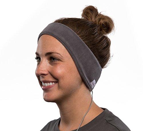 Auriculares con banda de lana para la cabeza AcousticSheep SleepPhones v.6 Classic - Gris, Mediano (esta talla se ajusta a la mayoría)