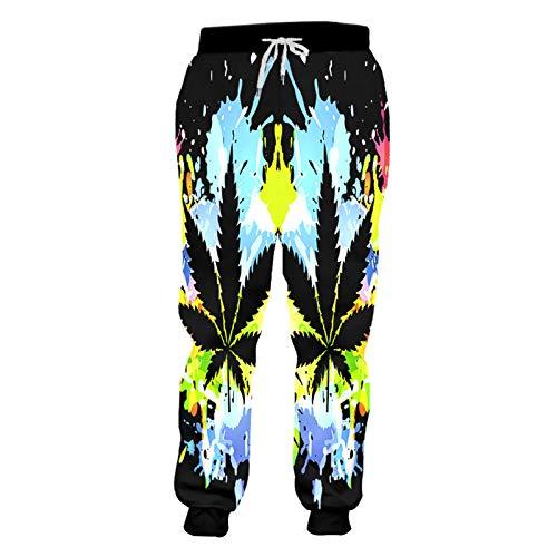 HanPaint 3D Print Inkjet Leaves Jogers Pant Men Women Funny Sweatpants Trousers Jogger Elastic Waist Pants Leaves 4XL