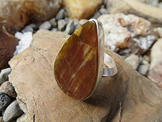 Woodland, petrified wood ring, wood ring, gift, boho chic, sterling silver, metalsmith, 8 1/4, statement ring, cocktail ring, boho, handmade
