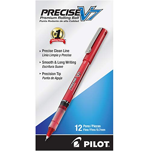 PILOT Precise V7 Stick Liquid Ink Rolling Ball Stick Pens, Fine Point, Red Ink, 12 Count (35352)