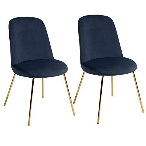 HOMEMAKE FURNITURE Sillas de Comedor para Cocina, sillas Laterales Modernas Mid Century, Silla de Comedor tapizada de Terciopelo con Patas de Metal, Juego de 2, Azul