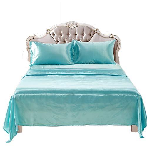 Fashion·LIFE Biancheria da Letto Luxury 4 PCS Imitazione di Seta in Raso di Colore Solido Anti-allergico Traspirante Lenzuola con Federe,Cielo Blu