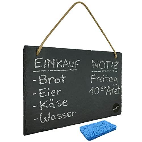 Schiefertafel zum Beschriften & Aufhängen inkl. Schwamm - beschreibbare Kreidetafel mit Naturkordel im Querformat 30 x 20 cm für Notizen & Co.