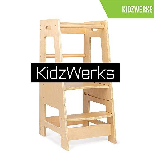 Child Kitchen Helper Step Stool with Adjustable Standing Platform Wooden Montessori Standing Tower Kids Step Stool ReadyWerks 201816 KidzWerks Child Standing Tower