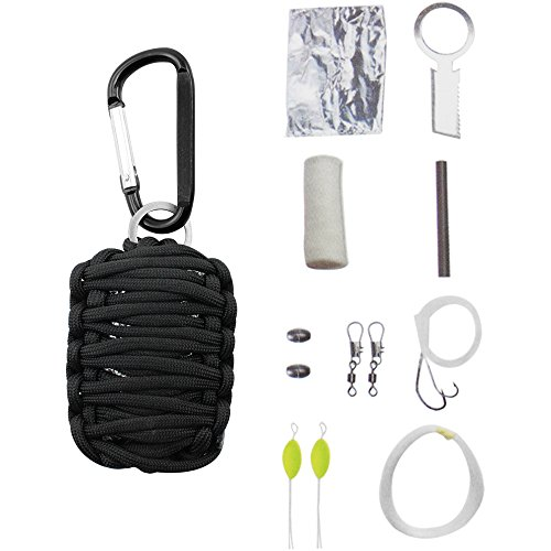 COM-FOUR ® para Cord Survival Kit in Nero, set di sopravvivenza per campeggio, arrampicata o altre attività all' aria aperta