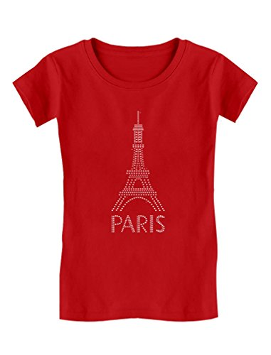 Eiffel Tower Paris Bastille Day French Patriot Gift Girls' Fitted Kids T-Shirt M (7/8) Red