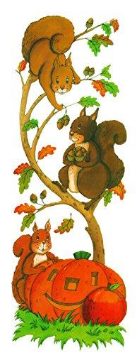 dpr. Fensterbild Herbst Eichhörnchen im Baum Kürbis Herbstblätter Fenstersticker Fensterdekoration Herbstdekoration