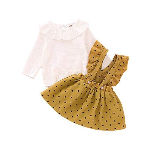6-9 Months Baby Girl Clothes Toddler Girl Onesies Yellow Polka Dot Suspender Skirt Set Long Sleeve Ruffle Romper Infant Linen...