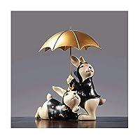 デスクトップデコレーション かわいいバニーウサギ家族樹脂像の装飾家の装飾リビングルームテレビキャビネットワインの内閣家具 ホルダーデスクトップオフィシャルインテリア (Color : B)