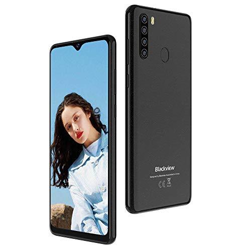 """Blackview A80 Pro Teléfono Móvil Libre con Cámara Trasera Cuádruple 13MP, 6.49"""" HD+ Water-Drop Screen Smartphone Libre, 4GB+64GB, Batería 4680mAh, Octa-Core, Android 9, Dual Sim 4G/Face ID/GPS-Negro"""