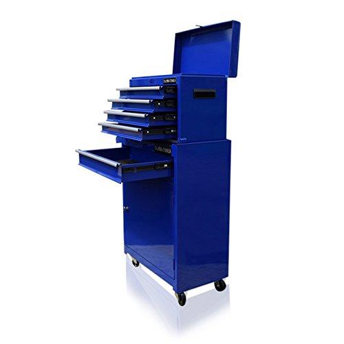 US Pro Tools Blauer Werkzeugschrank, Rollschrank, mit Kugellagern.
