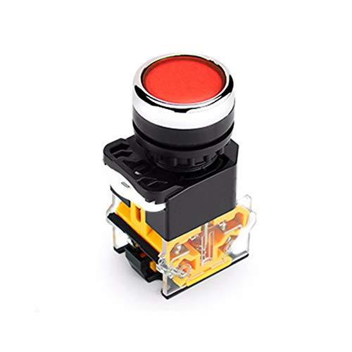Interruptor de botón autobloqueante POWERTOOL Interruptor de botón de cierre plano redondo AC 220V 22mm interruptor de encendido/apagado para arrancador electromagnético, contactor, relé (rojo)