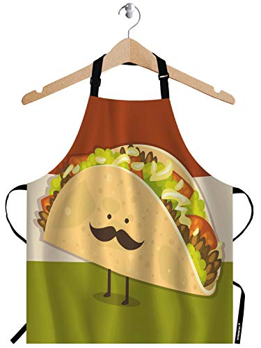 WONDERTIFY Cute Little Taco Apron,Lovely Cartoon Corn Rolls Uncle Has a Beard Bib Apron with Adjustable Neck for Men Women,Suitable for Kitchen Cooking Waitress Chef Grill Bistro Baking BBQ Apron