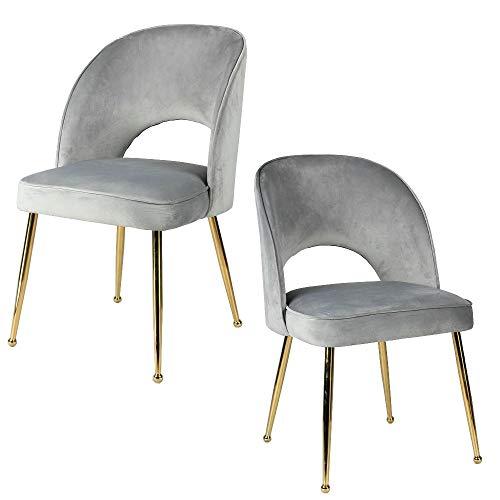Aspect Genevieve Accent Stühle, Esszimmerstühle, 2 Stück, Legierter Stahl, Hellgrauer Samt, 49x47x84 cm