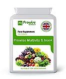 Multivitamines et fer 180 comprimés (dose de 6 mois) - Supplément quotidien en multivitamines un par jour - Fabriqué au Royaume-Uni pour une qualité garantie - Convient aux végétariens Par Prowise Healthcare