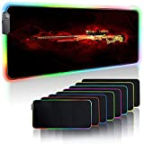 Gaming Mouse Pads Gun Game LED Gaming Mouse Pad RGB Soft Large Keyboard Rubber Base Computer Desk Mat for CSGO Game (31.5x15.7) inch