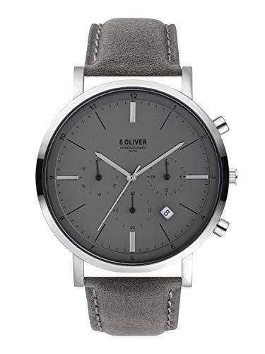 s.Oliver Herren Chronograph Quarz Uhr mit Leder Armband SO-3855-LC