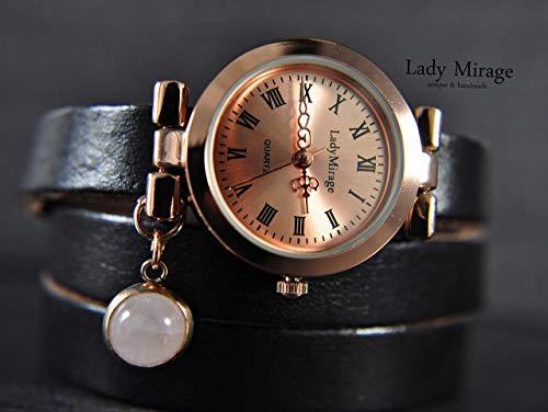 Rosenquarz Leder-Armbanduhr - Roségold Edelstein Geschenk für Sie Freundin Mutter